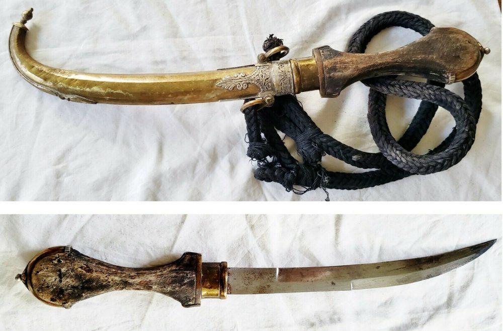 Antique Dagger Islamic Jambiya Wootz Blade Ornate Court Silver Moroccan Afghan