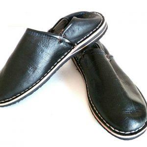 Babouche Moroccan Leather Sewn Shoe Slipper Black