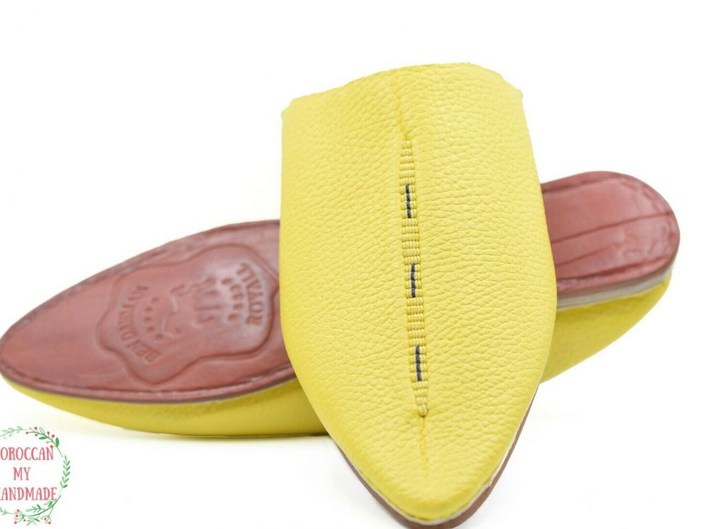 Babouche slipper men Moroccan shoes sheepskin leather slippers hand made leather