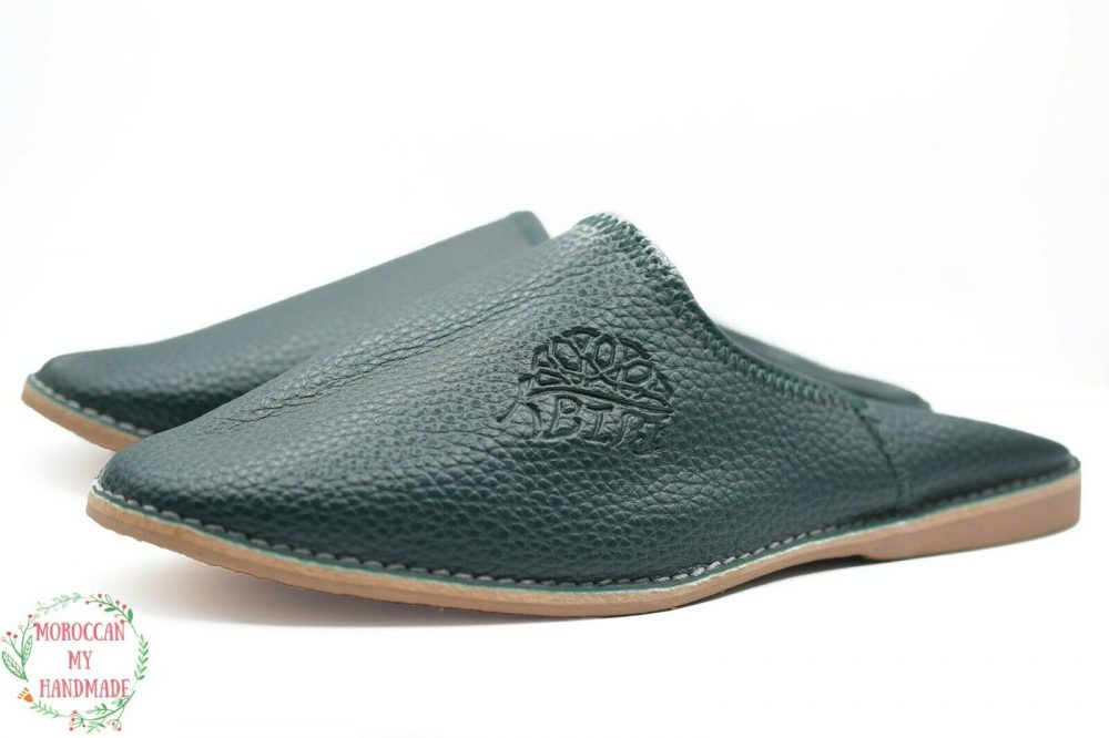 Babouche slippers men Moroccan sheepskin slippers men handmade leather mules