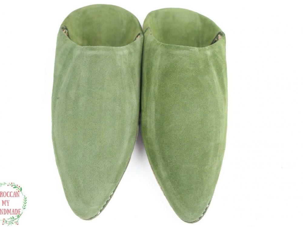 House slippers for women cute Green suede slippers Moroccan sheepskin slippers F