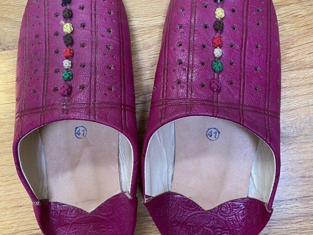 Leather Moroccan Babouche Slippers Size 41