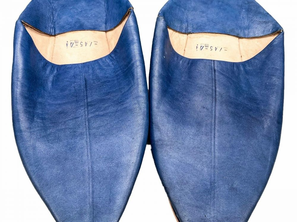 Moroccan Berber Leather Babouche Slippers - Adult Blue