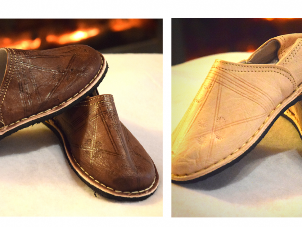 Moroccan Berber leather slippers for women and men and children