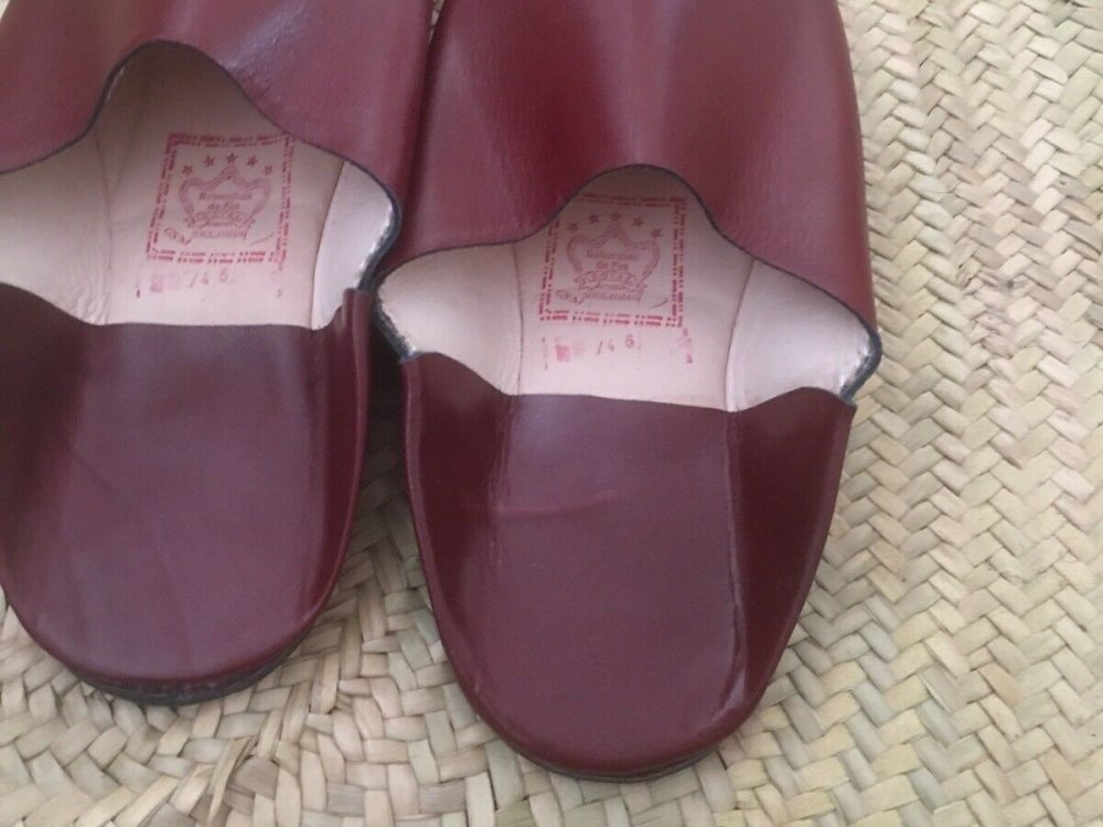 Moroccan Hand made All Leather Men's Slippers ( Baboush) Size 9 (eu 44)