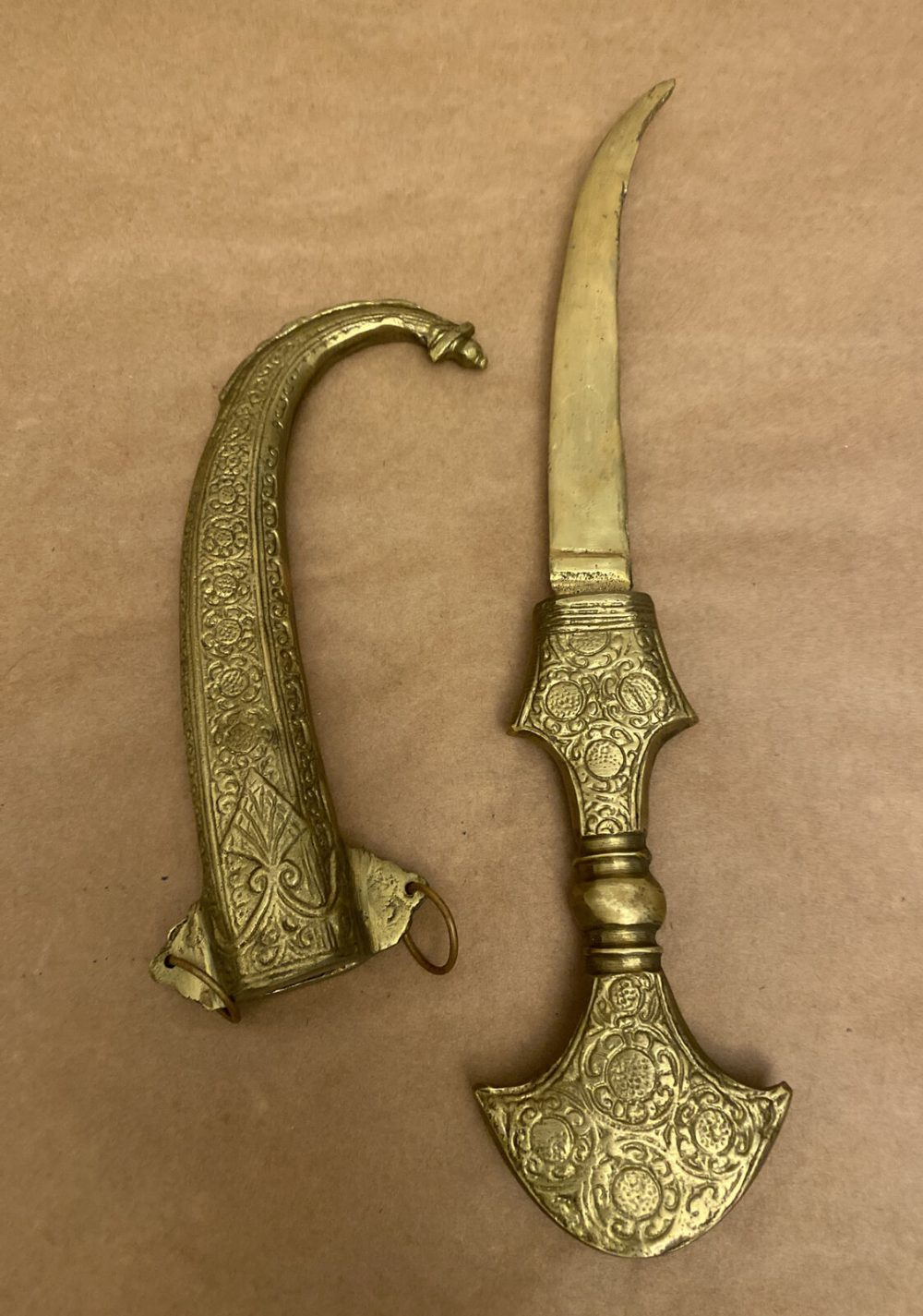 Moroccan Jambiya Koummya Dagger Knife Curved Brass Sheath r