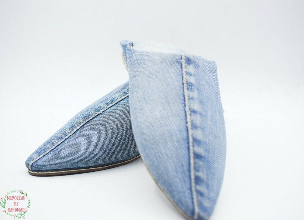 Moroccan Slippers Denim Babouche Tapered Toe Shoe Leather Men Handmade Marrakesh
