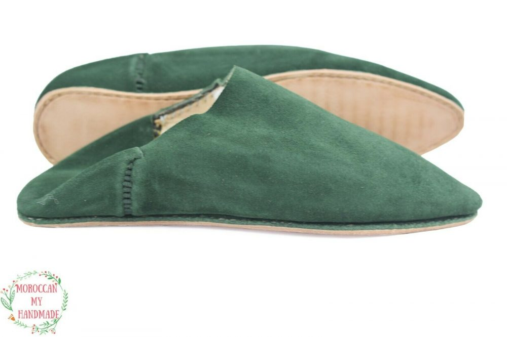 Moroccan leather mules engagement gifts slippers Moroccan suede green slippers