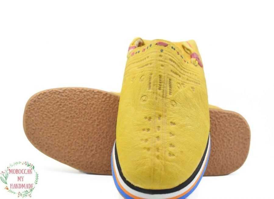 Moroccan leather slippers sheepskin mens Berber slippers babouche Moroccan shoes