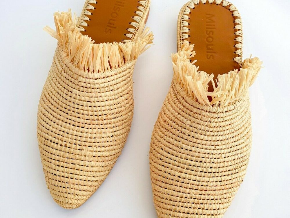 Raffia babouch, Moroccan shoes, handmade sandals, Rafia slippers, fringes shoes