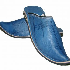 Slipper Moroccan Leather Blue Sewn Shoe Slipper Sandal Mule Slipper