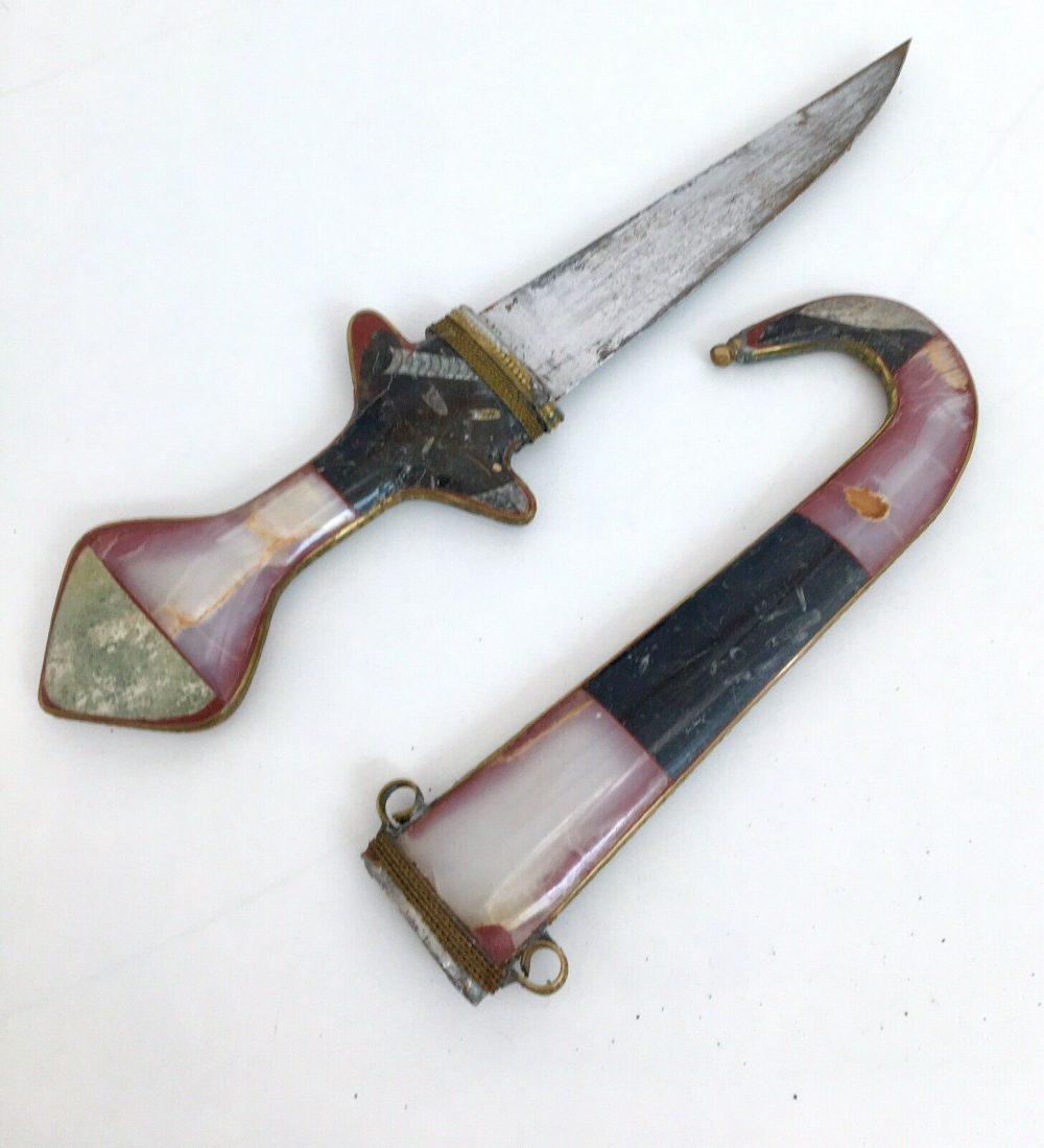 Vintage Traditional Handmade Moroccan Berber Dagger Knife Koummya Marble & Brass
