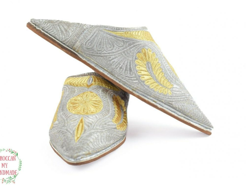 Women house slippers Moroccan moccasin slippers for women Gold silk leather mule