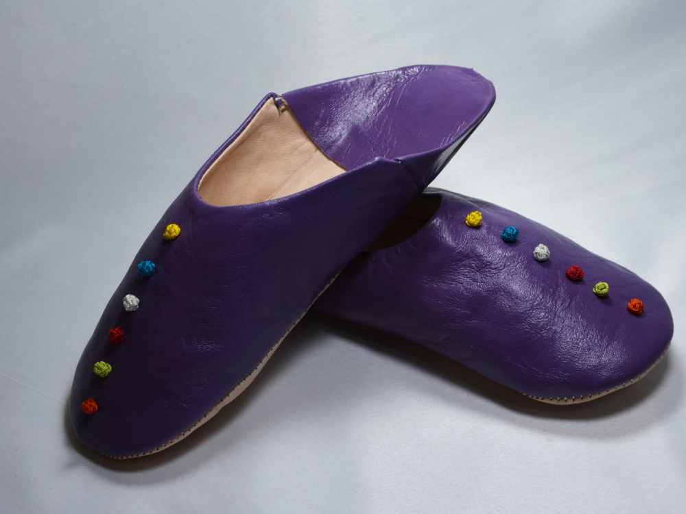 Womens Moroccan Leather Babouche Slippers, Handmade Slippers, Sheepskin Slippers