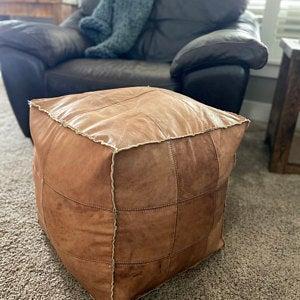 Amazing square Ottoman Pouffe Moroccan leather, ottoman square pouf, light tan handmade footstool square pouffe Moroccan