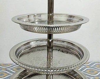 Moroccan Handmade Tea Tray Brass Plated Engraved Large Oval