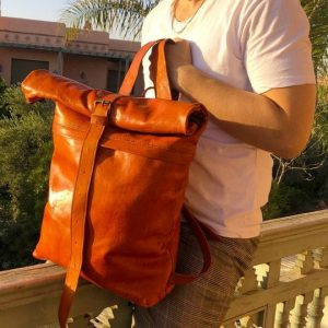Leather Cross Roll Top Backpack, Naturally tanned henna, handcrafted leather bag moroccan fez tannery