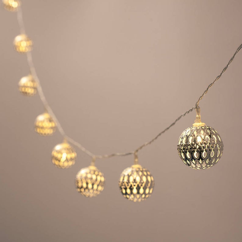 Silver Moroccan Lights, Fairy Lights, Holiday Decor, Moroccan Lights, Battery Operated Lights, Silver Festive Lights, Silver Fairy Lights