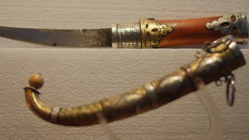 Moroccan Dagger With Metal Sleeve Brass Silver and Copper Decorative Handmade