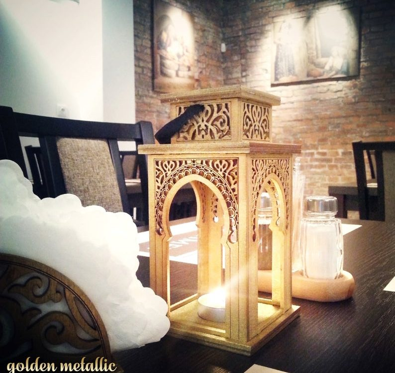 "Moroccan style lantern ""Mounira"" for tea light tea-light, wooden oriental - different colors"