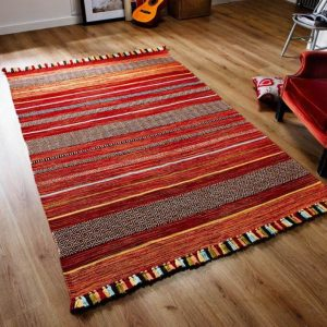 Red Kilim Rug, Striped Moroccan Rug, Traditional Handmade Kilim, Tribal Rug, Large Area Mat, Moroccan Living Room, 200x285 cm