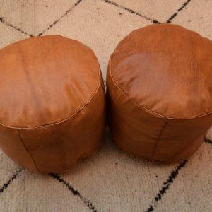Set 2 Moroccan poufs footstool handmade ottoman gift pouf round leather pouf, ottoman round tan Ottoamn pouf moroccan decor