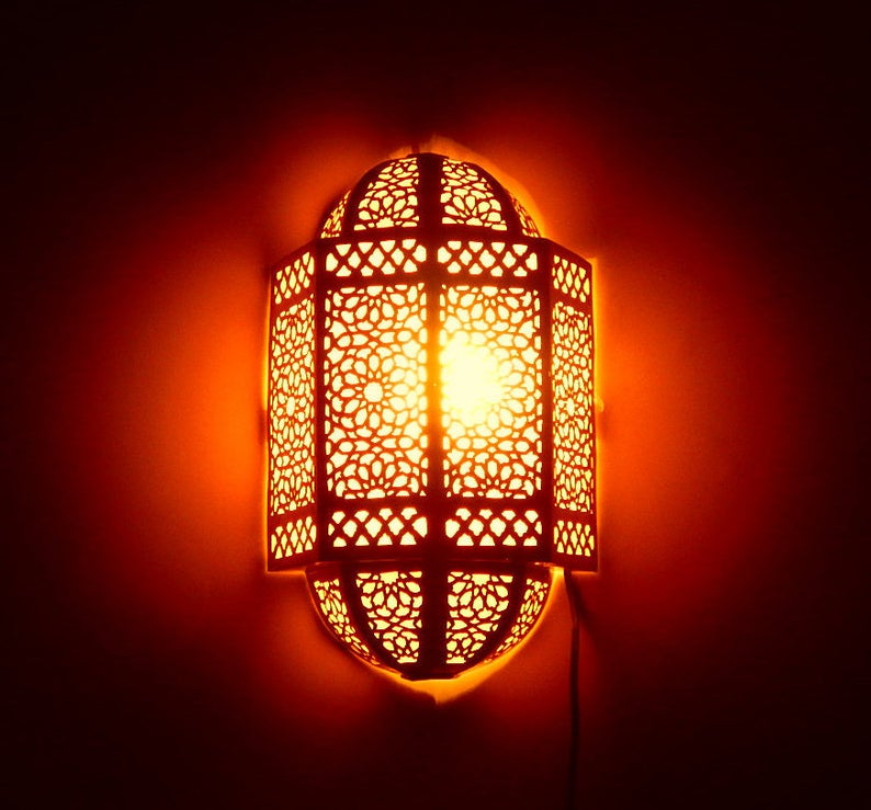 Handcrafted Wall Lamp Moroccan Design, wall sconce, 2 Sizes Available, Boho Lighting, wall Light, Wall Decor, Andalusian lighting