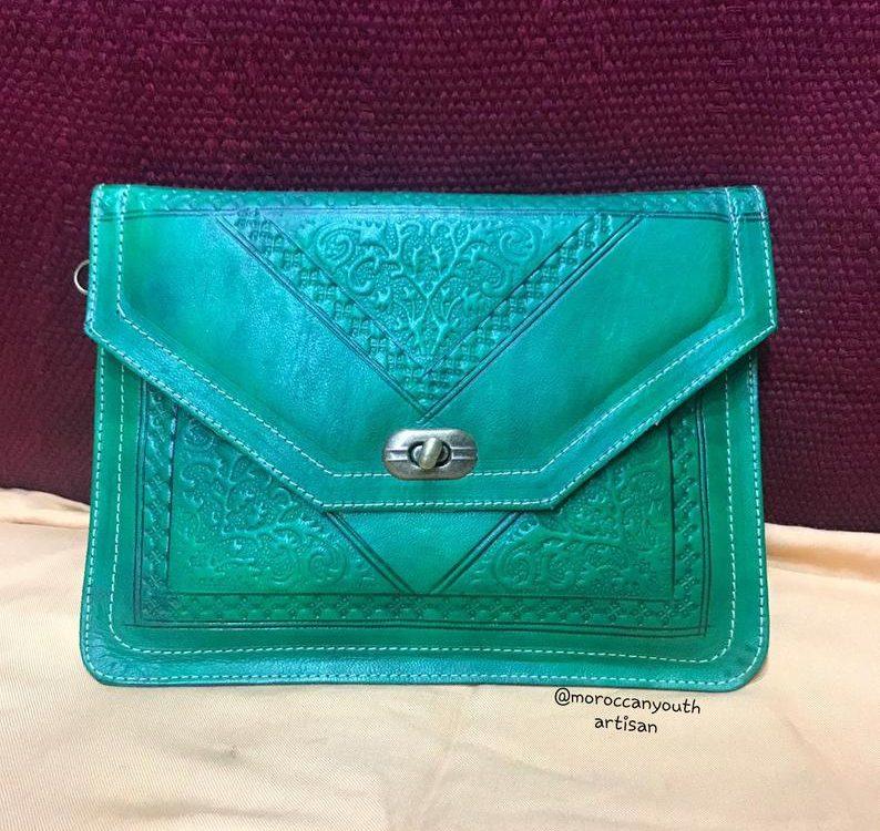 Leather Handbag Purse Moroccan Women Makeup Clutch Wristlet Wallet