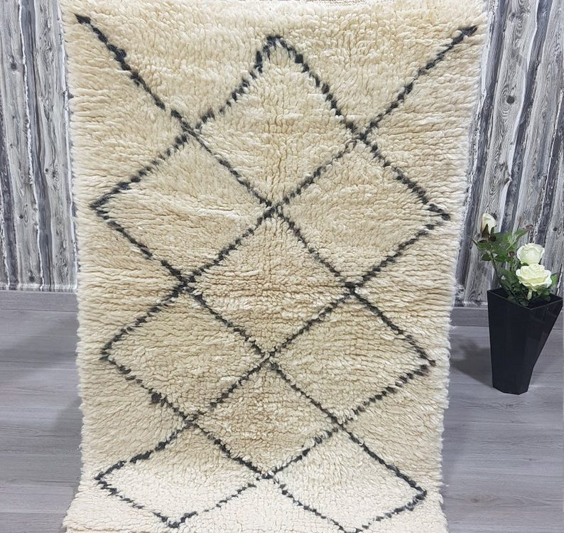 Custom Moroccan Rug, White Soft Beni ourain rug, Authentic carpet Handmade Berber Rug, Moroccan Area Wool Rug, Tapis Marocain Personnalisé
