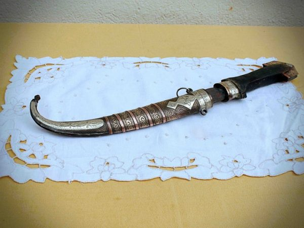 Vintage decorative Middle eastern style Moroccan dagger - hand etched - with scabbard - wall art - 15 inches - Koummya, Jambiya - Arabic