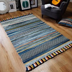 Kilim Rug, Blue Striped Moroccan Rug, Tunisian Traditional Handmade Boho Rug, Blue Kilim Rug, Tribal Rug, 160x230cm