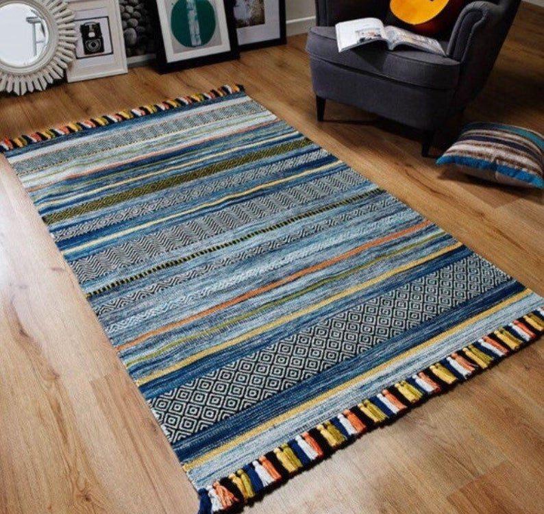 Kilim Rug, Blue Striped Moroccan Rug, Tunisian Traditional Handmade Boho Rug, Blue Kilim Rug, Tribal Rug, 160x230cm