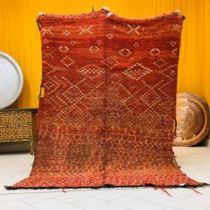 Very old rug vintage wool by wool Moroccan rug (7.3 ft x 5.2 ft )(220 cm x 158 cm )