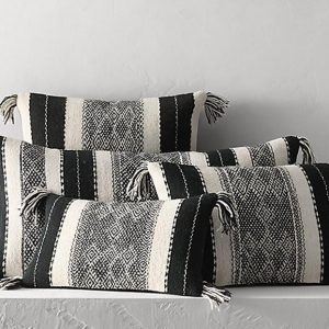 """Moroccan 13x21"""" Wool Pillow Throw, Hanbel Cushion Cover, Insert Available, Handwoven by Berbers from Morocco's High Atlas Mountain. CND200S"""