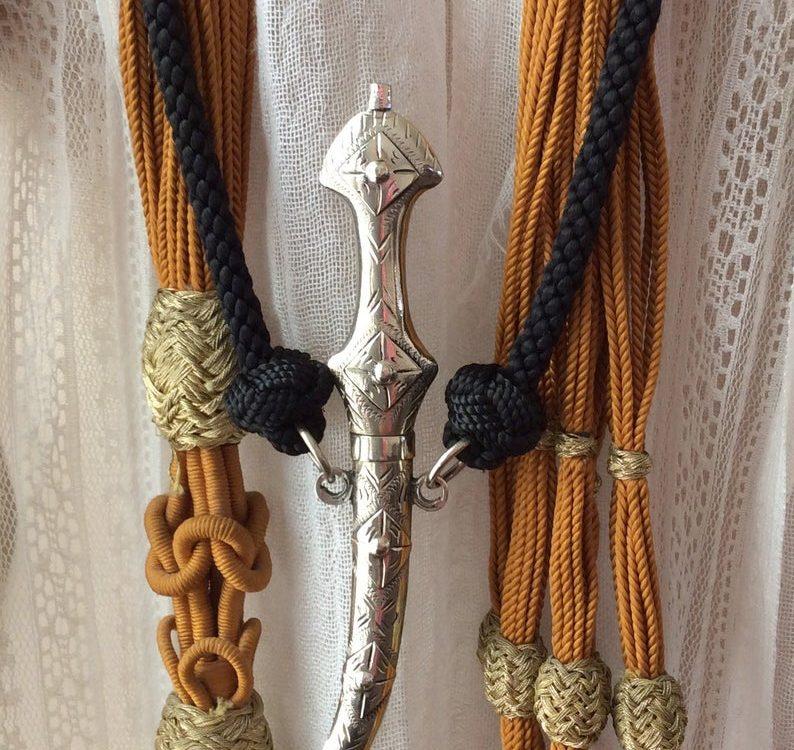 Tribal Moroccan Dagger pendant, exotic necklace ,black silk adjustable cord, ethnic jewelry,handmade,north west African pendant, unisex