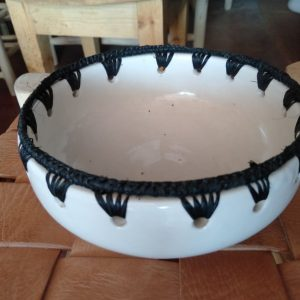 Home Moroccan bowl with Raffia Pottery Decorative Unique Pottery Bowl Moroccan Pattern Bohemian Gift Assorted Colors ceramic