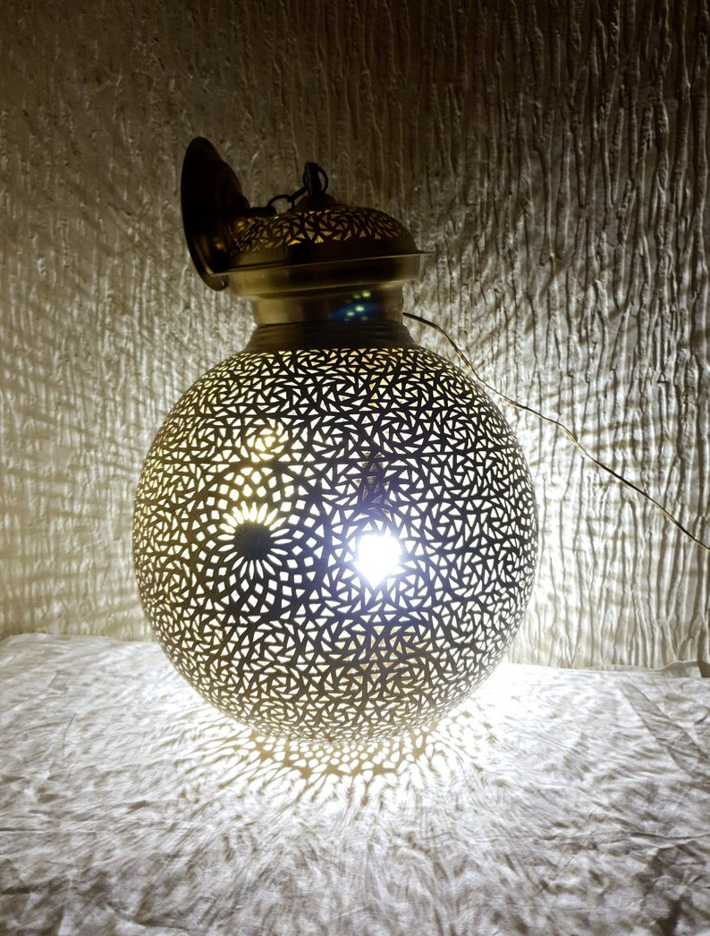 Buy 2 get 1 free, brass round Lamp, Pendant Lamps- Moroccan Lampshade Lights-Antique Look Modern Turkish Hanging, Arabian Moroccan Lamps