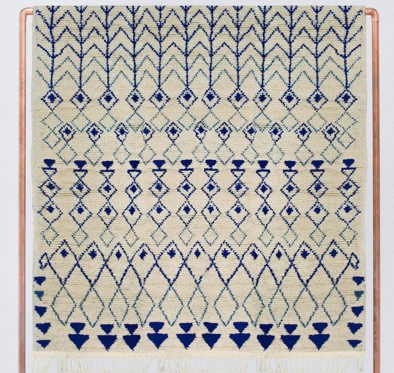 Beni Ourain rug, Berber rug, Azilal rug,White Blue Beni Ourain Rug, Moroccan Beni ourain, Area rug, Beni ourain Teppich, Free Shipping