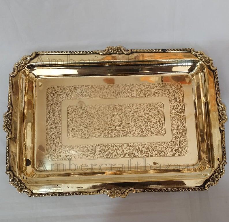 Vintage Large Brass Tray, Brass Serving Tray, Brass Decorative Tray, Large Ornate Brass Tray, Rectangle Brass Ornate Display Decorative Tray