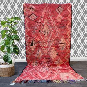 Moroccan rug, 4x9 ft , Handmade Old Moroccan Rug ,wool rug, Berber tribal rug, Antique Boujaad rug, Azilal rug, Hand knotted rug.