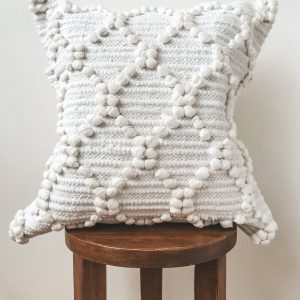 White Boho Diamond Knotted Pillow Cover | White Bohemian Cushion Covers | White Moroccan Decorative Pillows | Indian Pillow Cover