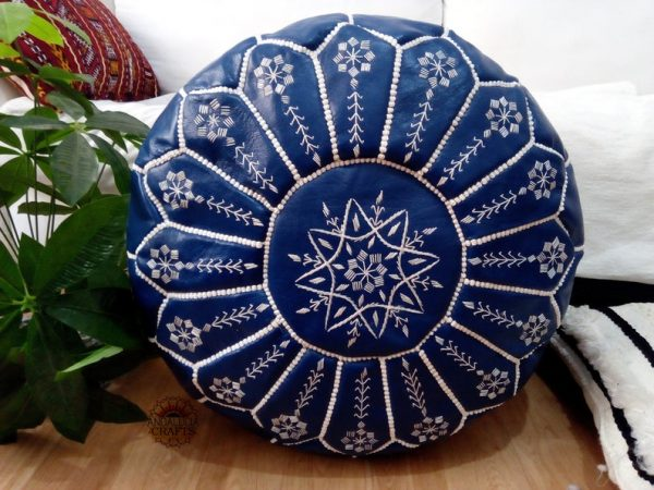 Moroccan blue dark Leather pouf with embroidered design, Ottoman ,Footstool Leather Round Poufs Pouffe Pouffes - unstuffed Poof