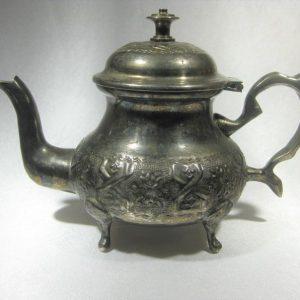 Vintage Teapot Moroccan Ornate Footed Arabic Tea Pot 2 cups Abriq Alshshay