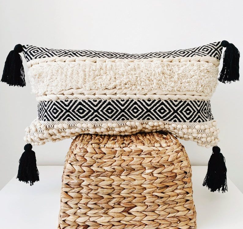 Lumbar Boho Pillow, Throw Pillow cover, Bohemian Lumbar Pillow with Tassels, Black & Cream Textured Cushion cover, Moroccan Pillow