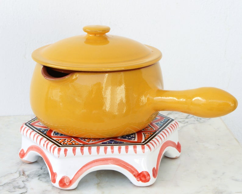 Yellow Clay Cooking Pot Terracotta Pan - Hand Made Natural Food Safe & Eco Friendly Moroccan Tunisian Kitchenware | Stoneware Earthenware