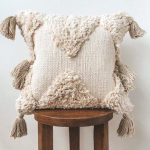 Natural Boho pillow cover | Fringe bohemian pillows | Beige decorative pillows with tassels | Moroccan pillow Cover
