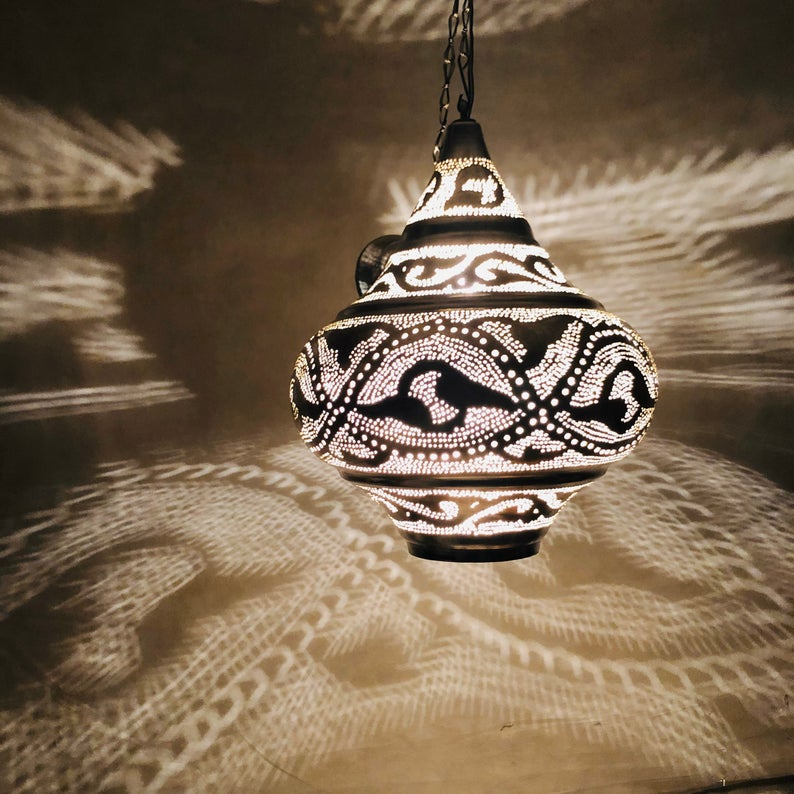 Moroccan Modern Brass Hanging lamp Pendant lamp Lights Silver plated Hanging Lamp