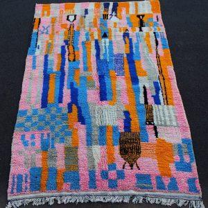 Boujad Vintage Moroccan Rug , Rag . Wool Boujad Carpet . Tapis Boujad .