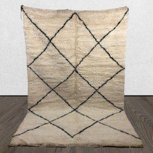 Beni Ourain rug, Moroccan Berber rug, Handmade , Area rug, Beni ourain Teppich, White Black rectangles, Free Shipping