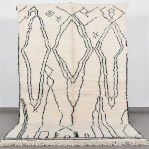 Beni Ourain Rug - Moroccan Rug - Morrocan Rug - Berber Rug - White Tribal Moroccan Rug Large Moroccan Rug Beni Rug Shag Rug Custom Wool Rug